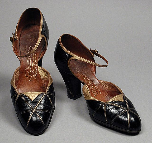 black and gold 1920s ankle strap pumps.
