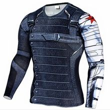 New 3D Winter Soldier Avengers 3 Compression Shirt Men Summer Long Sleeve MMA Fitness Crossfit T Shirts Male Clothing Tight Tops //Price: $US $7.32 & FREE Shipping //