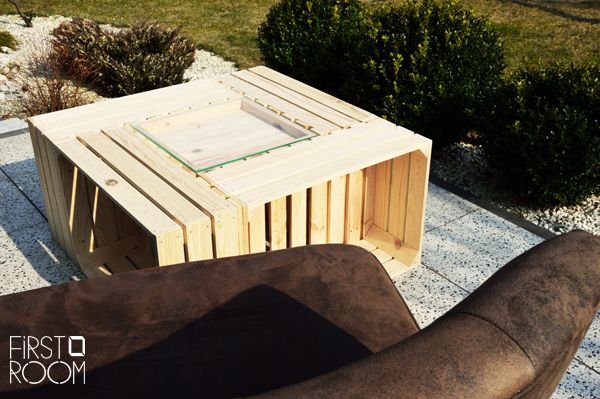 wooden crate table, wooden box, wooden crate, pine wood, coffee table