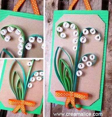 Les fêtes de Pâques sont terminées, place au joli mois de Mai et pour l'accueillir tout en beauté, voilà une jolie carte décorée de muguet tout en papier !!