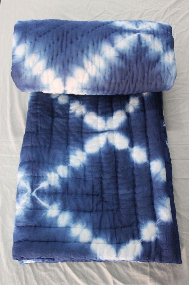 Handmade Jaipuri Razai Shibori Print Indigo Blue Cotton Filling Quilt 2 Pcs Set #KhushiHandicraft #ArtDecoStyle