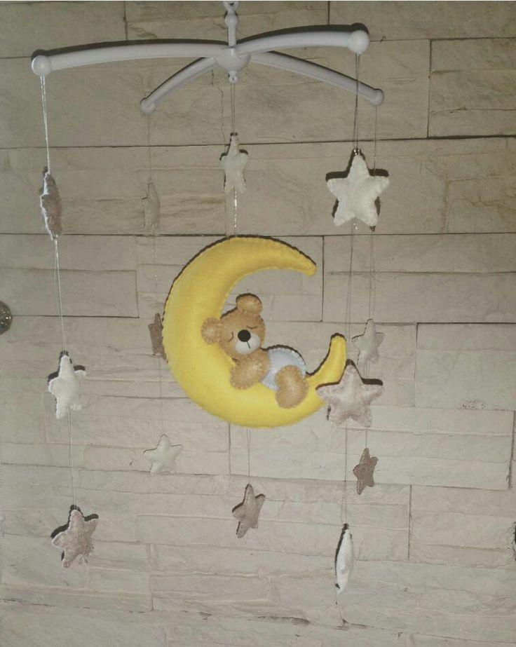 giostrina baby neonato orsetto orso luna stelle feltro felt