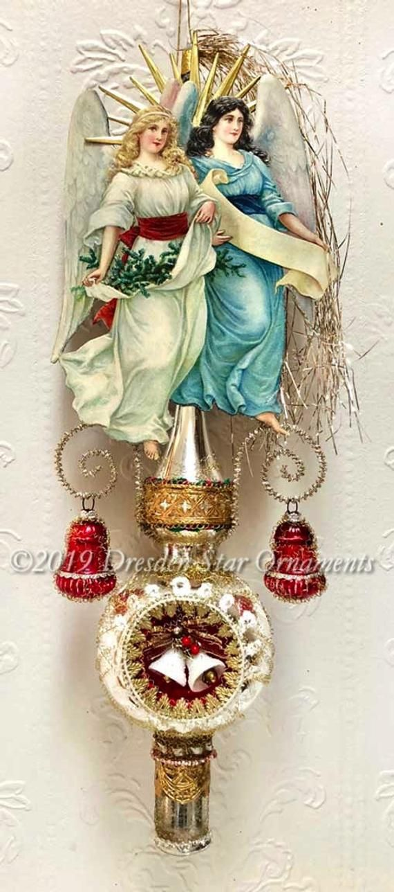 Twin Angels on Glorious Silver 3-Sided Glass Spire Topper or Ornament with Christmas Bells in ...