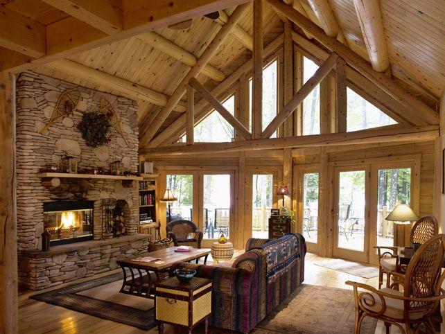 44 best Log Home Great Rooms! images on Pinterest | Log cabins ...