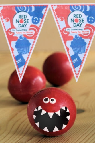 Another yummy idea! Edible red noses for Red Nose Day  #comicrelief #rednoseday