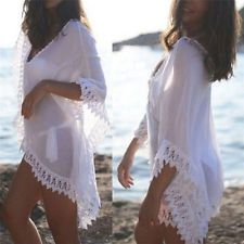 Women Lace Crochet Bikini Beachwear Cover Up Beach Dress Summer Bathing Suit Top