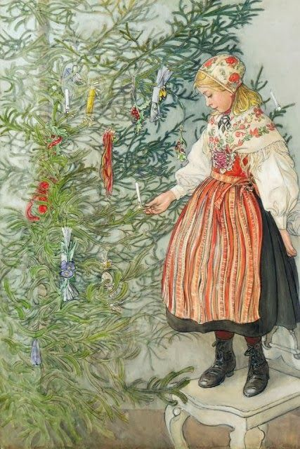Mom loved Carl Larsson's artwork and our home was always decorated with traditional Swedish ornaments at Christmastime.