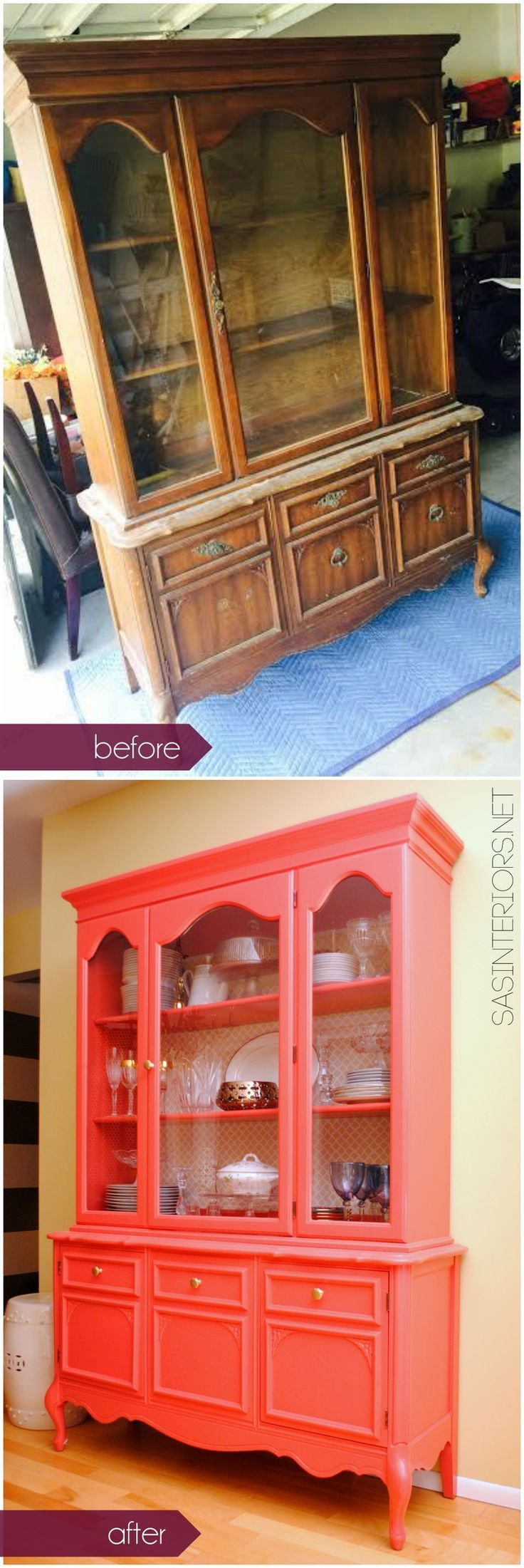 We love this before and after display cabinet makeover - the coral paint really pops!