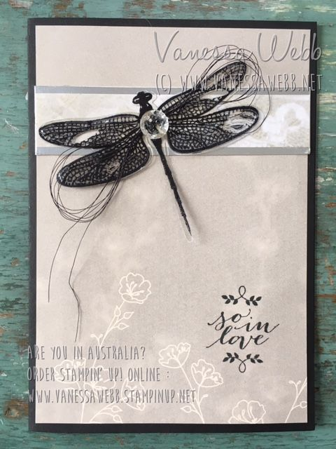 Dragonfly Dreams and Vintage Faceted buttons......see blog post for more information and inspiration -Vanessa Webb – Independent Stampin'Up! Demonstrator