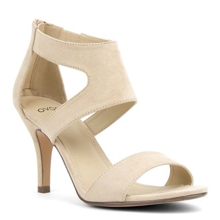 Mid High Heel Sandal with Back Zip