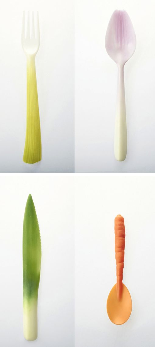 Utensils made from recycled materials to resemble veggies. Too pretty to throw out, which is the point!  |  Sambazon