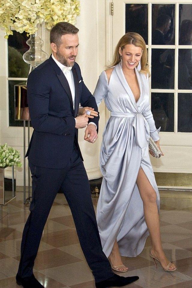 Ryan Reynolds wearing  Burberry Modern Fit Virgin Wool Half-Canvas Peak Lapel Tuxedo, Burberry Silk Bow Tie, Burberry Velvet Loafers, Burberry Slim Fit Satin Detail Dress Shirt