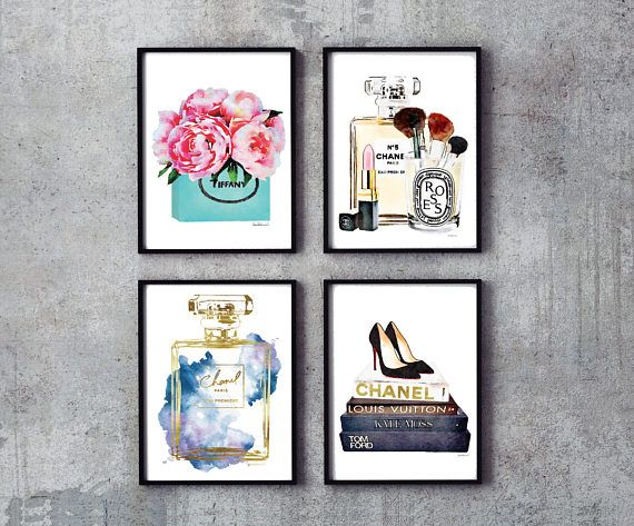 Set of 4 fashion inspired posters -The gold is an effect, a photo of gold foil- -Gold effect on one book title and large perfume outline  - You will receive one of each print, 4 in total. - Dimensions: select from drop down menu - 8x10 inches 12x16 inches, 12x18 inches,16x20 inches,18x24 inches - 24x36 inches is available, please message for new listing. - Printed on archival, acid-free paper. - Museum-quality posters made on thick, durable, matte paper. - Most art comes with Signature on…