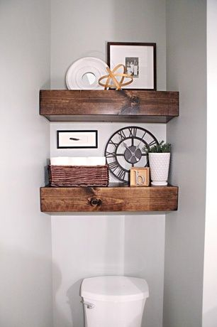 Rustic Powder Room with Standard height, Paint, Etsy Cottage Farmhouse Rustic Wood Floating Shelf, Reclaimed wood shelf