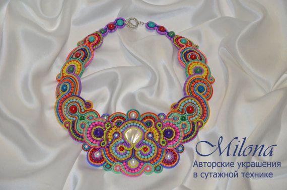 Soutache necklace Rainbow by MilonaSoutache on Etsy