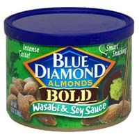 BLUE DIAMOND WASABI & SOY SAUCE ALMONDS (if you love a bit of heat, you will love. They kind of remind me of the hot mustard you get in a Chinese restaurant but not quite that hot).