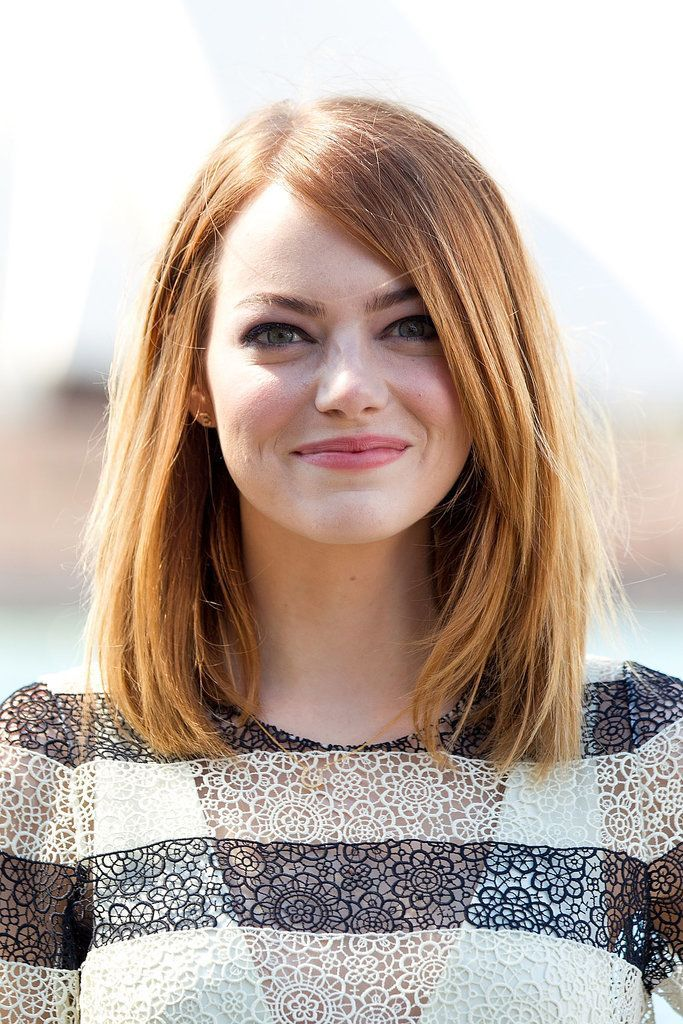 Emma Stone side part lob hairstyle