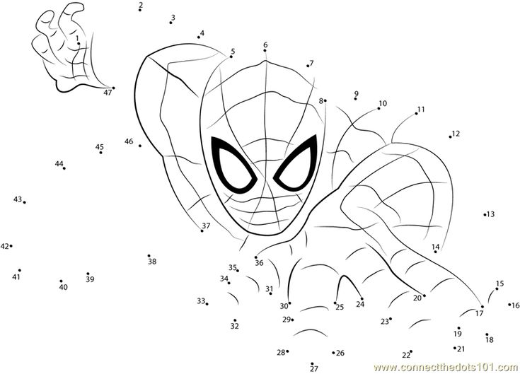 Download or print Spiderman the Superhero dot to dot printable worksheet from Cartoons,Spiderman connect the dots category.
