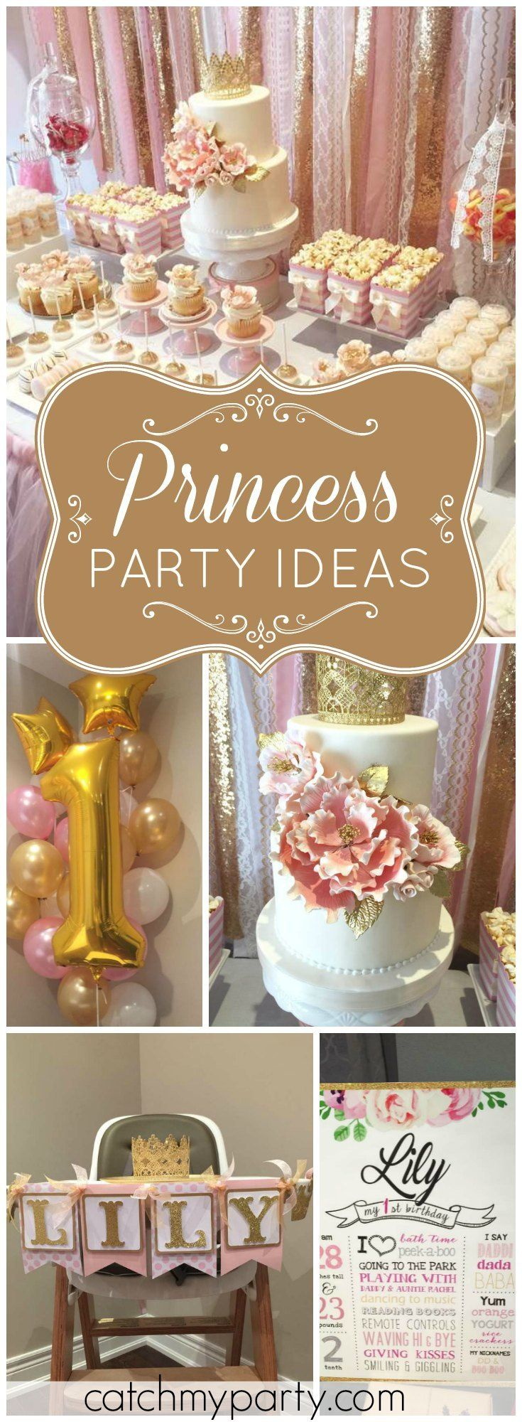 You won't believe this gorgeous pink and gold princess birthday party! See more party ideas at Catchmyparty.com!