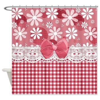Pretty Pink Gingham Daisies Shower Curtain | A pretty pink gingham pattern and a retro daisy flower design that looks like it's been stitched together with eyelet lace and a cute pink bow. Flat design, not actual material. $43.99