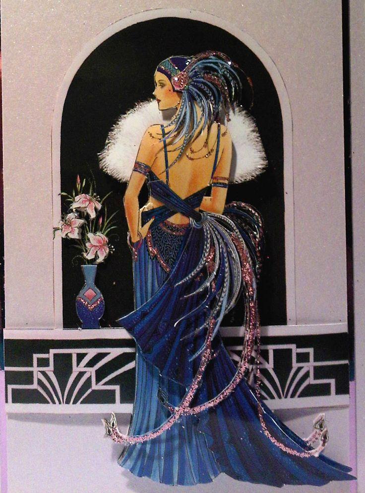 Art Deco.: Idea, Art Deco Art, Art Deco Woman Illustration, Dress, Art Deco Cards, New Art Deco, Deco Lady, Artdeco, Art Deco Illustration