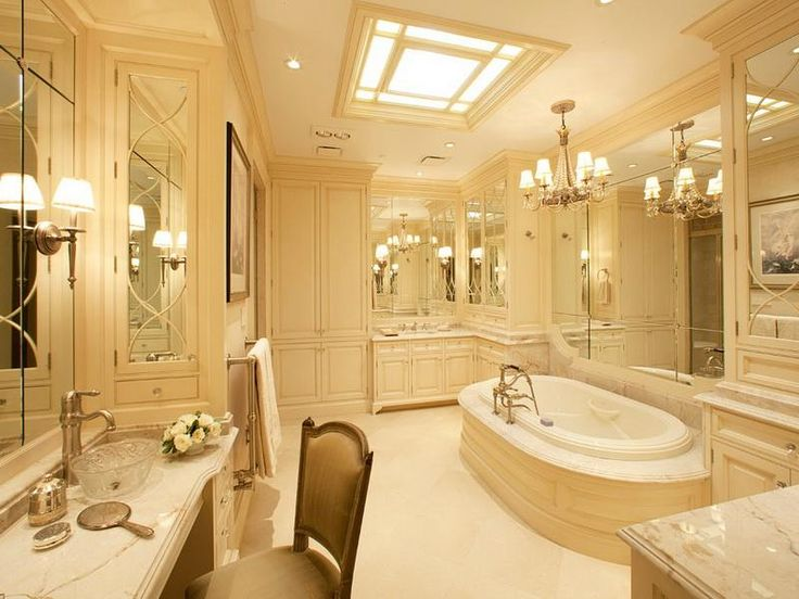 Corner cabinet tower glass tub facing luxury master for Large bathroom pictures