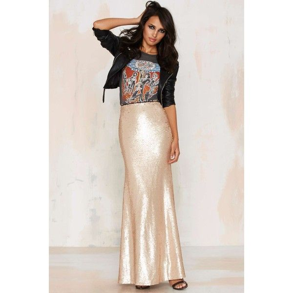 Sea of Gold Sequin Maxi Skirt ($62) ❤ liked on Polyvore featuring skirts, gold, ankle length skirt, lucy paris, zipper skirt, long maxi skirts and gold sequin skirt