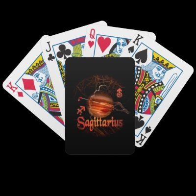 Poker  card deck Sagittarius well-known and respected playing cards. Made with patented casino quality paper and a color printing process that is second to none, these cards are the mark of the premium quality Bicycle has represented since 1885. Make a deck with your photos, text, or designs for a fun birthday gift, wedding favor, or to stylize your home poker tournament as a cut above the rest.  for $23.60     Easy to shuffle, durable semi-gloss cards.      52 playing cards and 2 Joker