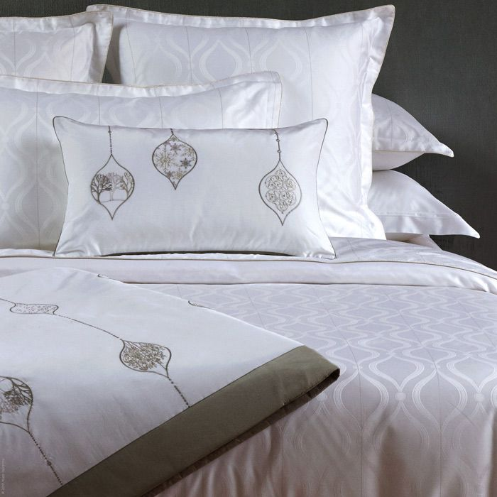 Tone on tone elegance. Neve Bed Linens by Yves Delorme combines traditional woven design in all white with embroidered accessories encapsulating treeline inspired motifs.