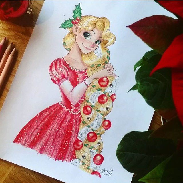 Tangled! Disney Christmas Rapunzel Artist: @jasse_art