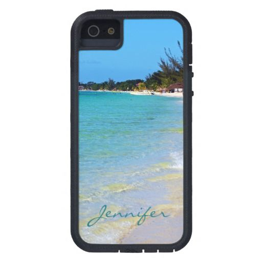 Beautiful Coastal Jamaica Beach Sand Surf EXT5 iPhone 5 Case  This beautiful souvenir phone tough extreme 5 i case features landscape nature travel photography of the famous 7 mile beach taken in tropical Negril, Jamaica with teal green blue text. Great gift for a summer loving warm weather beach lover.