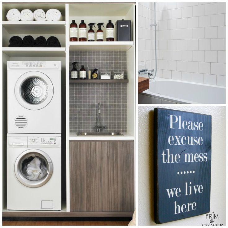 En kompakt tvättstuga och kaklat badrum. A compact launderyroom and a ...