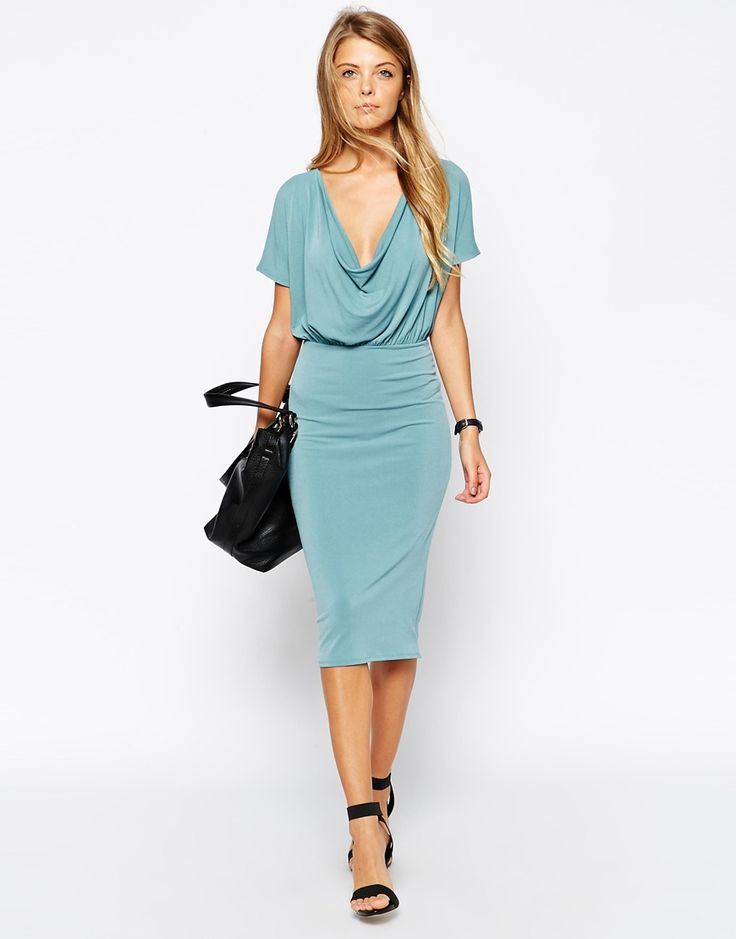 Image 4 of ASOS Body-Conscious Crepe Dress with Drape Cowl Neck