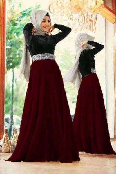 Baju Gamis Modern Mix Satin - Model Long Dress Remaja Terbaru