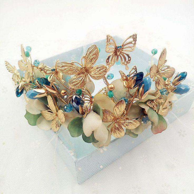 2017 Royal Regal  Gold plate vintage bridal tiaras leaf butterfly Crowns blue mint Crystal Rhinestone For Bride Flower Girl