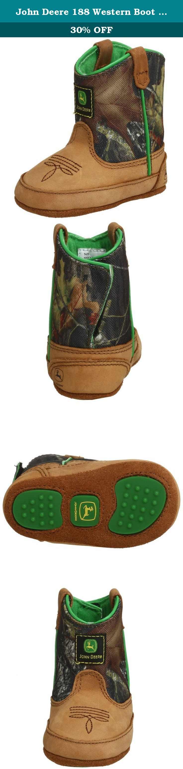 John Deere 188 Western Boot (Infant/Toddler),Camouflage,4 M US Toddler. John Deere Crib Series Classic Pull-On Boots Featuring a tan crazy horse foot with a leather shaft, this John Deere Crib Series Classic Pull-On Boots with a John Deere Wellington style for the crib is a great quality product. It has a stitch and turn construction, a soft moisture wicking lining and velcro back closure for easy entry/exit. In addition, the grip pads on the sole prevent slipping, further making it a…