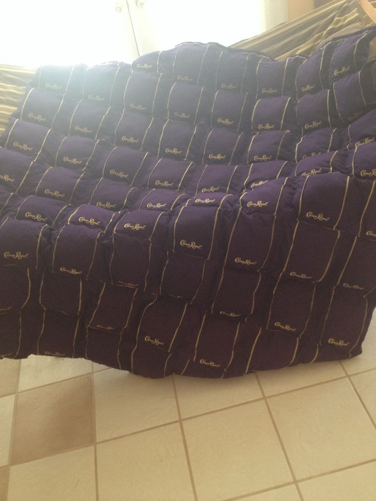 Puff quilt made of crown royal bags. 72 bags total. Took forever and broke 2 needles, but it was worth it!