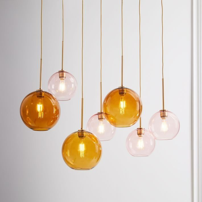 Sculptural Glass Globe 7-Light Chandelier - Mixed Create lighting with a custom feel with our Sculptural Glass collection. Part of our biggest lighting collection yet, this chandelier comes in a range of colors, finishes and sizes for a glowing review in any space.