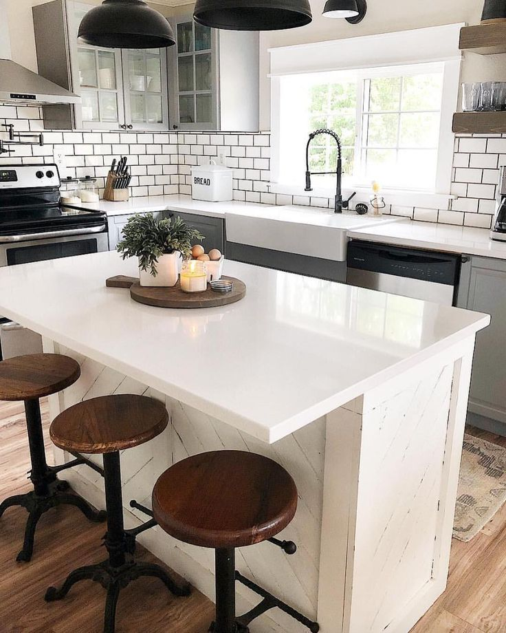 white subway title kitchen island kitchen design Kitchen