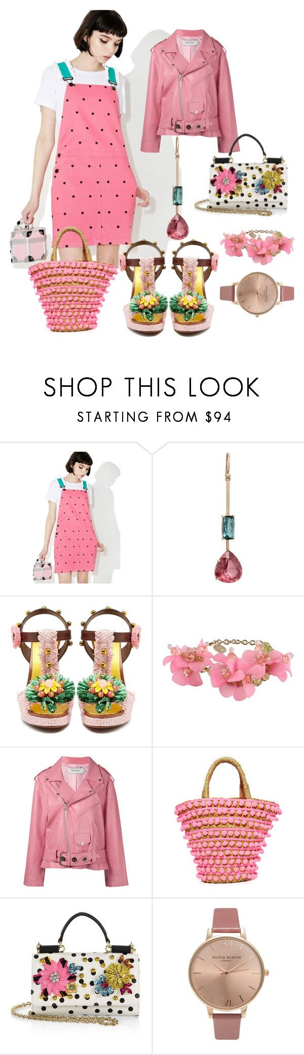 """""""Strawberry Pink Summer Jumper"""" by rosalindmarshall ❤ liked on Polyvore featuring Lazy Oaf, Irene Neuwirth, Dolce&Gabbana, RED Valentino, Marques'Almeida, Mystique and Olivia Burton"""