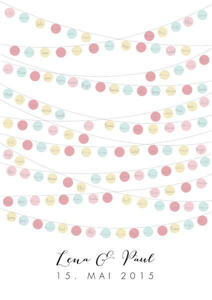 """*Bild zur Hochzeit """"Lampions""""* in Pastellfarben in DIN A2 mit 130 Lampions für bis zu 130 Gästenamen Ein ganz persönliches Geschenk zur Hochzeit, auf dem die Menschen, mit denen das Brautpaar..."""