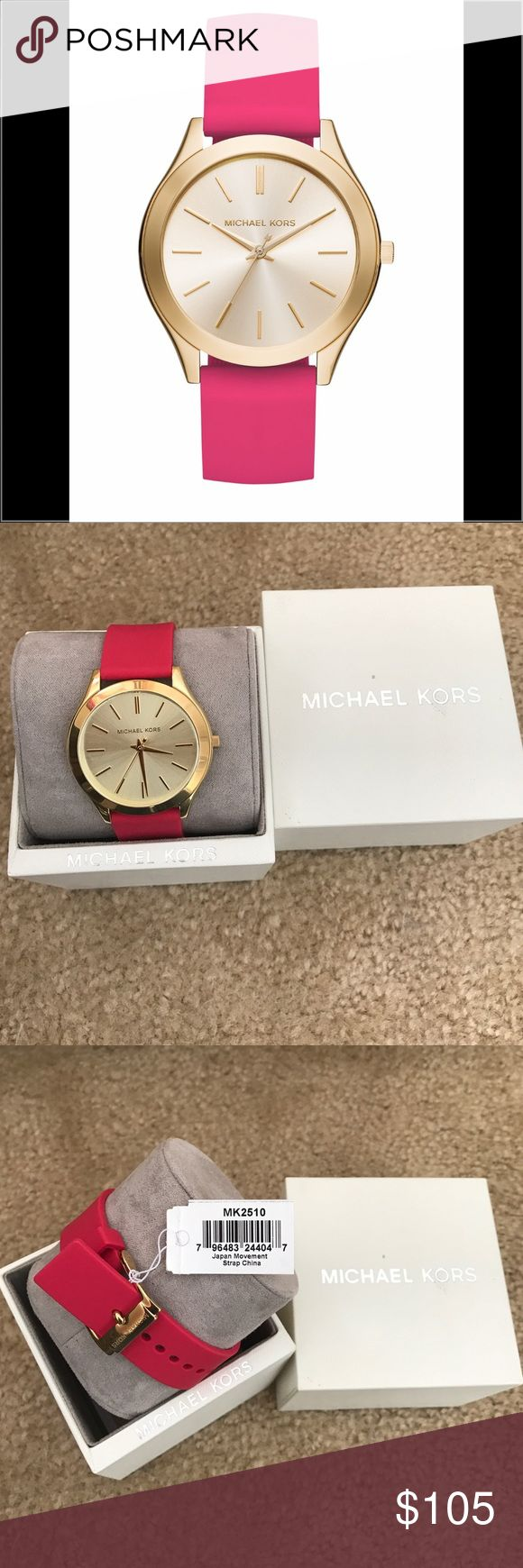 Michael Kors Women's Watch Sporty Pink Silicone Strap Watch Michael Kors Jewelry