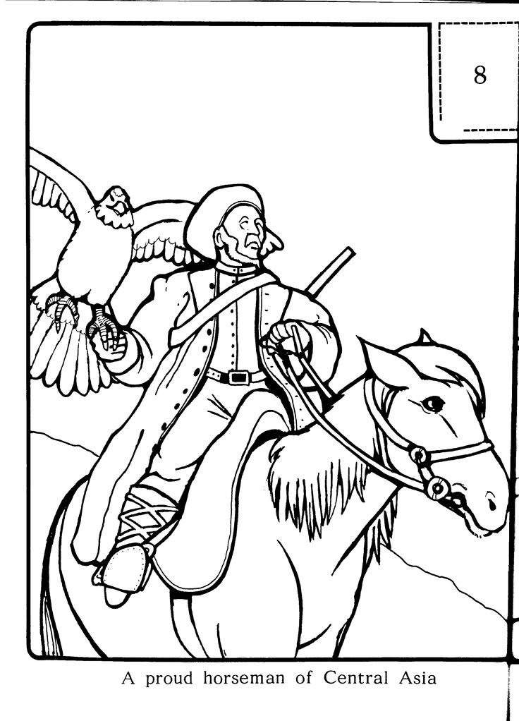 A proud horseman of Central Asia - Colouring sheets