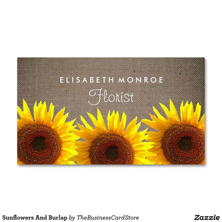 sunflowers and burlap double sided standard business cards pack of 100