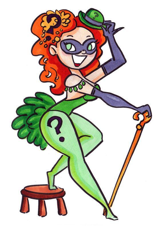 Batman Burlesque la chica Pin-Up de acertijo dibujo por daisychurch