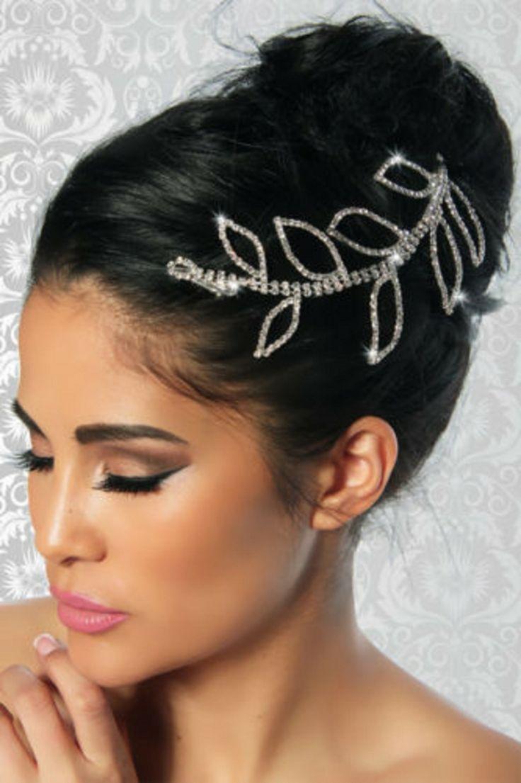 Superbe bijoux de cheveux feuilles argent pierre strass éclat : Accessoires coiffure par stoptiptop