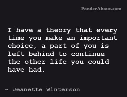 Theory about choices. Alternate lives. Wouldn't this be sort of amazing?