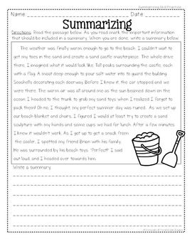 Summarizing Activities and Task Cards