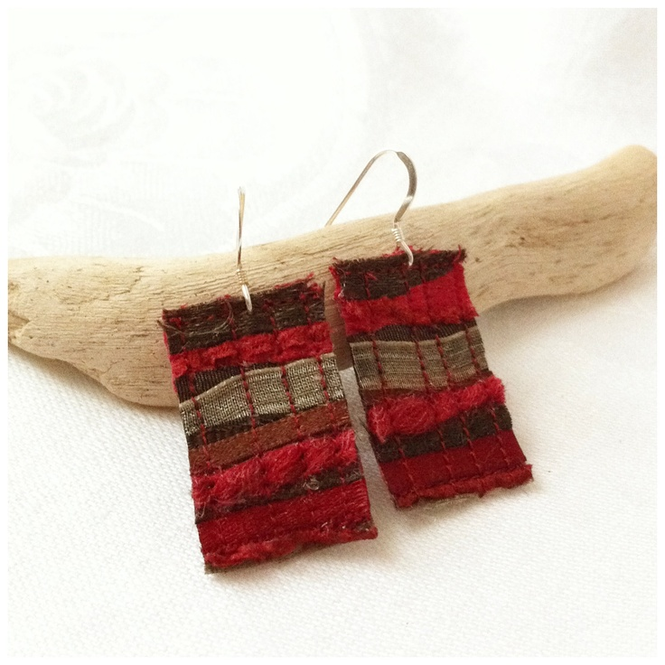Textile earrings in red, brown and gold, made from recycled fabric and fibres. £10.00, via Etsy.