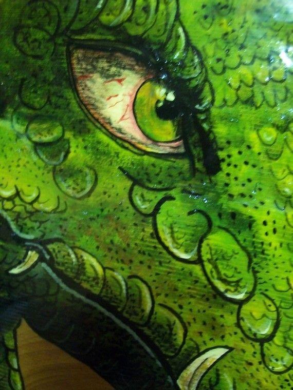 Dragon Painting Acrylic Wood Fantasy by Artasazi on Etsy, $125.00